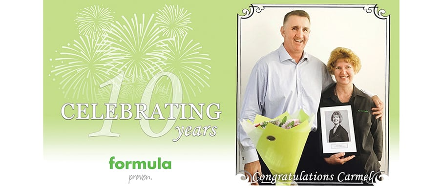 Congratulations Carmel Rayment – 10 years at Formula
