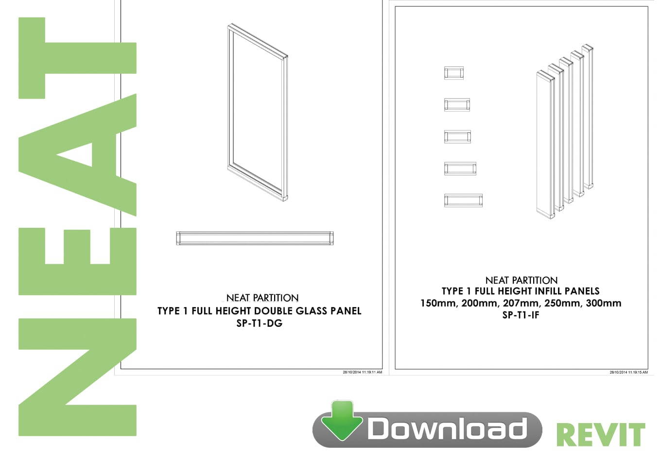 Neat Partition System Revit download - Formula Interiors