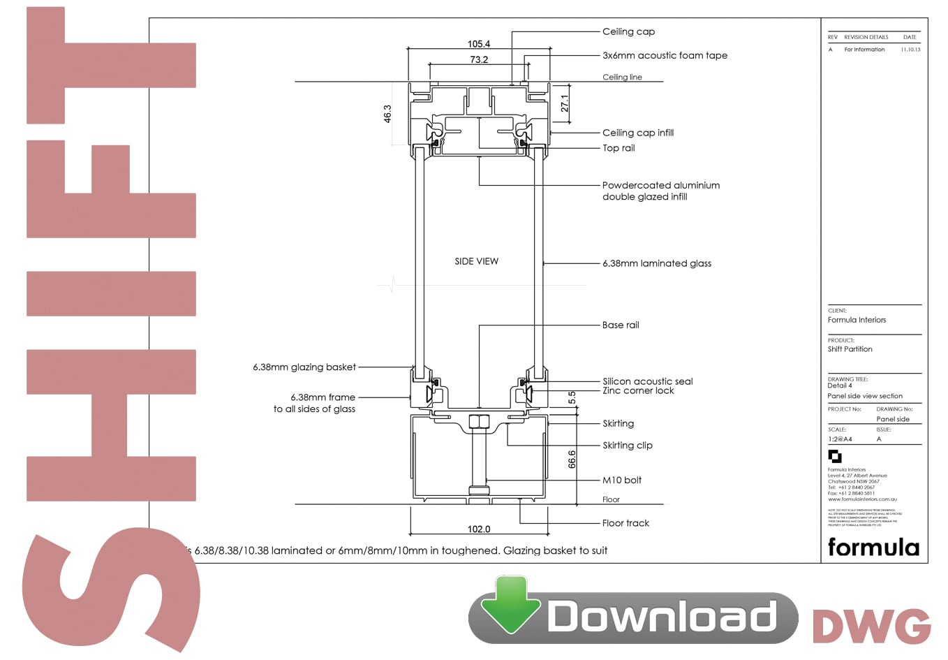 Shift Partition System DWG download - Formula Interiors