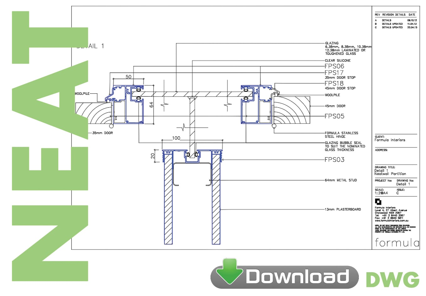 Neat Partition System DWG download - Formula Interiors