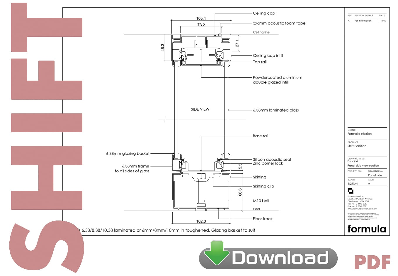 Shift Partition System drawings pdf download - Formula Interiors