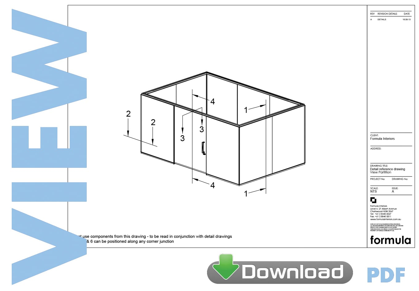 View Partition System drawings pdf download - Formula Interiors